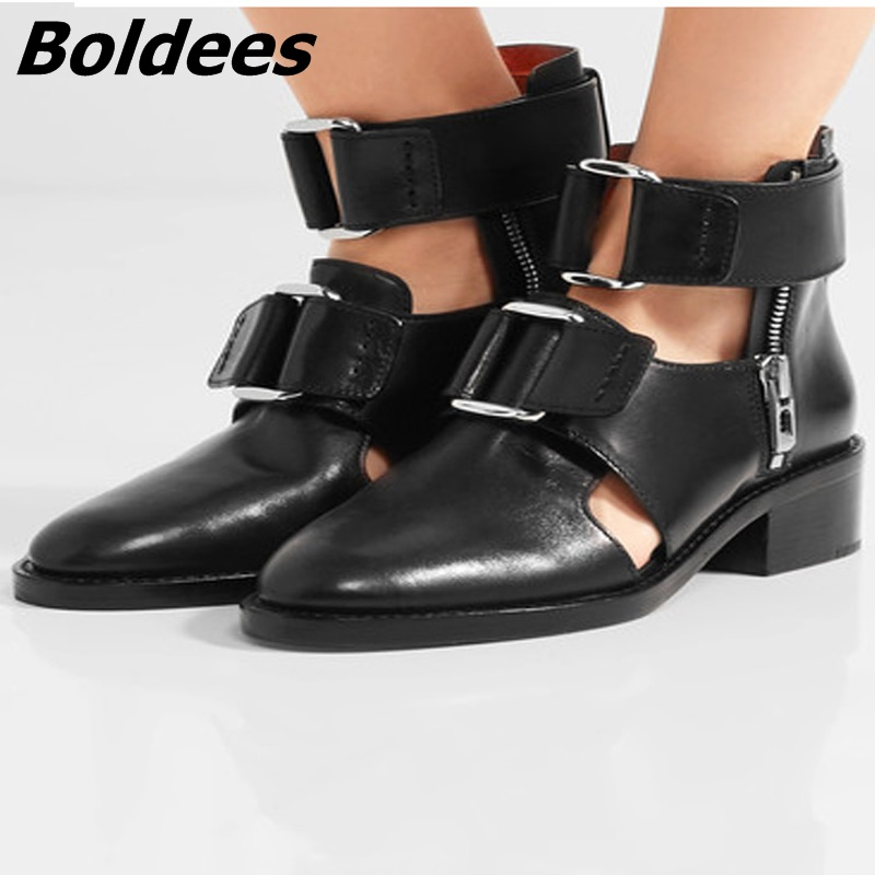 Boldees Summer Men Gladiator Sandals Rome Catwalk Italian Leather Sandals For Men Cut Out Boots Shoes Low Heel Chaussure Homme