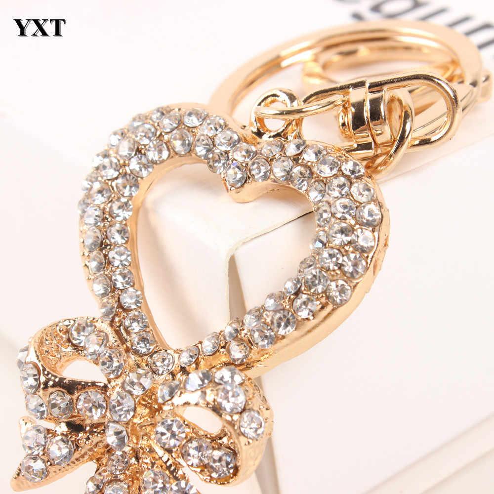 Изысканный Ключ Сердце Бабочка прекрасный модный красивый горный хрусталь Хрустальная подвеска брелок женский шарм новый подарок ювелирных изделий