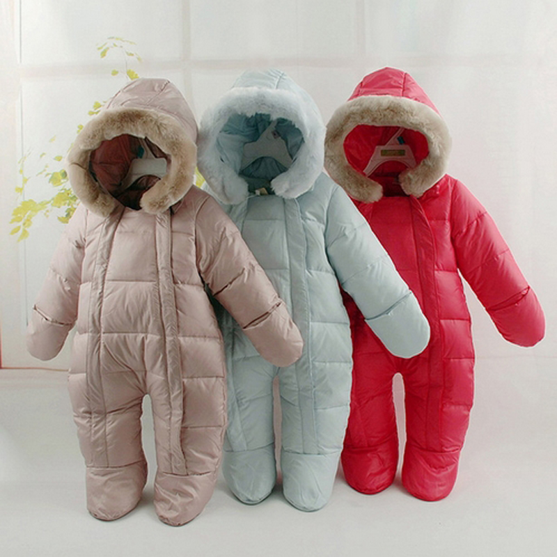 Baby Snowsuits Hooded Jumpsuit Down Jacket For Boys Girls Winter Snow Warm Coats Double Zipper  Kids Clothes Infantil Rompers winter baby snowsuit baby boys girls rompers infant jumpsuit toddler hooded clothes thicken down coat outwear coverall snow wear