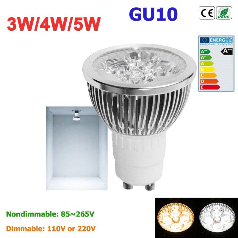 1pcs Super Bright 3W 4W 5W GU10 LED Bulbs Light 110V 220V Dimmable Led Spotlights warm cold white Natural White lamps