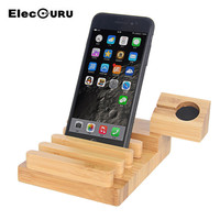 New Wood Bamboo 3 Usb Port Charging Stand Holder For Apple Watch And Iphone Samsung S5