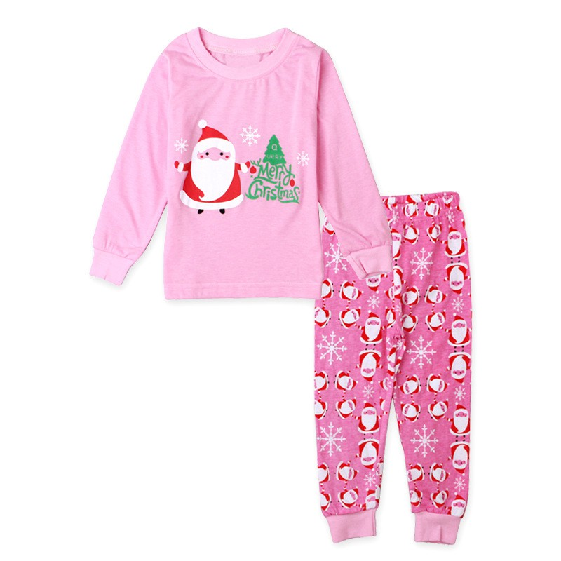 2~7YEARS child Merry Chrismas Kids Girls Christmas Nightwear Pink Sleepwear Santa Printed Pajamas Set 2PCS 9042