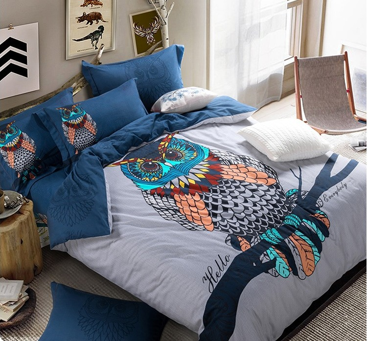Queen Owl Bedding Set King Size Cartoon Quilt Duvet Cover Double Blue Bed In A Bag Sheet Spread Bedsheet Sheets Cotton Thick Sets From Home