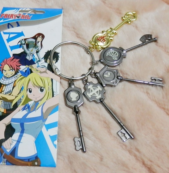 Anime Fairy Tail Lucy Cosplay Key Chain Scale Free Pink Tattoo Heartfilia Sign Of The