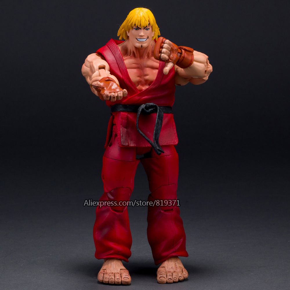 NECA Player Select 18cm Ultra Street Fighter 4 Survival Model Ken Masters Ryu Guile Gouki Action Figure Toy 6 Style White Black neca player select 18cm ultra street fighter 4 survival model ken masters ryu guile gouki action figure toy 6 style white black