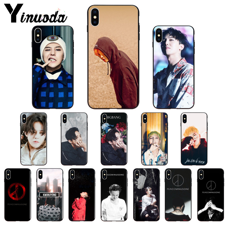 Yinuoda G-DRAGON <font><b>BIGBANG</b></font> GD peace minusone Black Soft TPU Phone Case Cover for iPhone X XS MAX 6 6S 7 7plus 8 8Plus 5 5S XR image