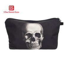 цены 3D Printing Cosmetic Bag Black Skull Pattern Cute cosmetic organizer Bag For Travel Ladies Pouch Women Makeup Bags Washing bags