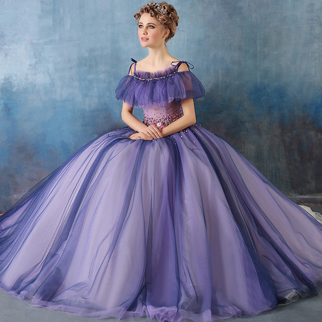 ee89e05d552 DZ090 Elegant Purple Prom Dresses Ball Gown Abendkleider Tulle Flower  Beaded Plus Size Masquerade Evening Party Prom Dress