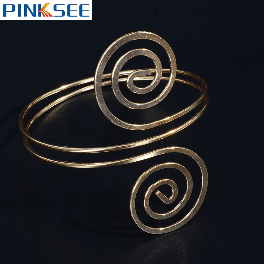US $1 63 32% OFF|Chic Spiral Swirl Wrap Arm Cuff Armlet Gold/Silver Color  Armband Punk Style Upper Arm Bangle Bracelet Hiphop Jewelry-in Bangles from