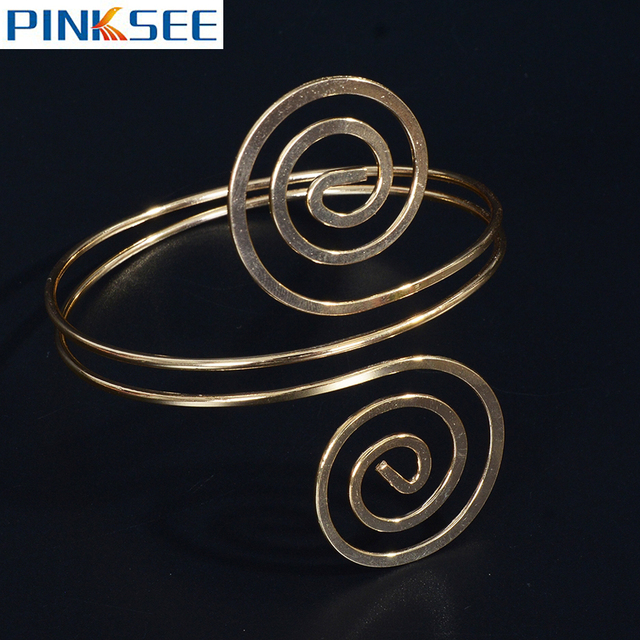 f62ebe8519f Chic Spiral Swirl Wrap Arm Cuff Armlet Gold/Silver-Color Armband Punk Style Upper  Arm Bangle Bracelet Hiphop Jewelry