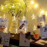 Sterne Geformt Foto Hängen Anhänger Clip String Licht Für Mädchen Schlafzimmer Romantische Dekoration Urlaub Lichter-in Lichterketten aus Licht & Beleuchtung bei