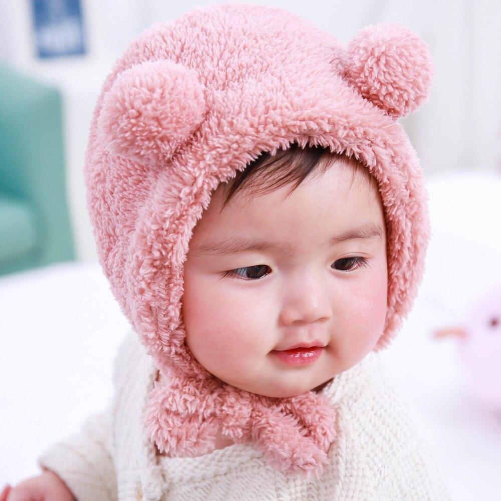 6dceeacff15 Cute Bear Ears Baby Hats 6 36 Months Infant Bebe Autumn Winter Warm Hat Caps  Fleece Boy Girl Bonnet Earflaps-in Hats   Caps from Mother   Kids on ...