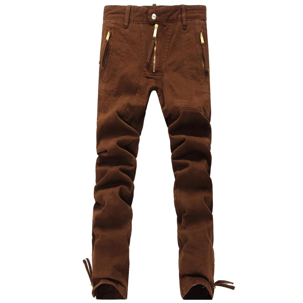 D Cotton Skinny Brown Jeans Italy men's Runway Show Thin Cotton ...