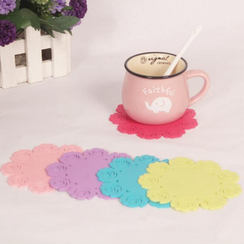 4pcs Silicone Coasters Lace Sets Tea Cup Mat Flower ...