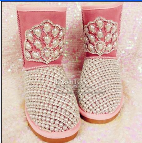 Taille Moyen Bottes Bijou Plus Chaussures À La Strass Perle jambe Femme Main Femelle wES6qA1E