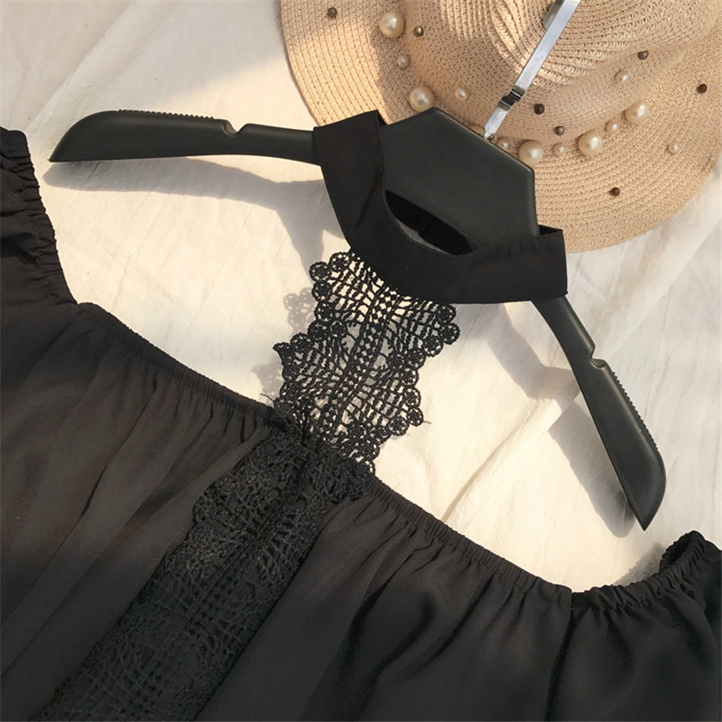 Moda 67384 Verano Top De Mujer Blusas Llamarada 67384 Blusa Black cuello Flores Patchwork Neploe Vintage Bordado 2019 White Manga TwqHRPR
