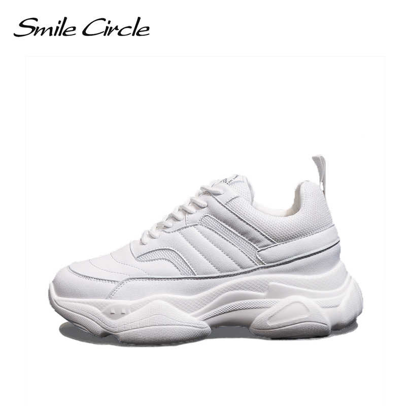 Smile Circle Women Chunky Sneaker Microfiber Thick bottom Flat Platform  Breathable Shoes Women 2019 Spring Wedges 17f10f4ca0b6