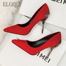 цена на ELGEER 2018 new ladies single shoes wedding shoes red bridal shoes metal hollow suede pointed high heels