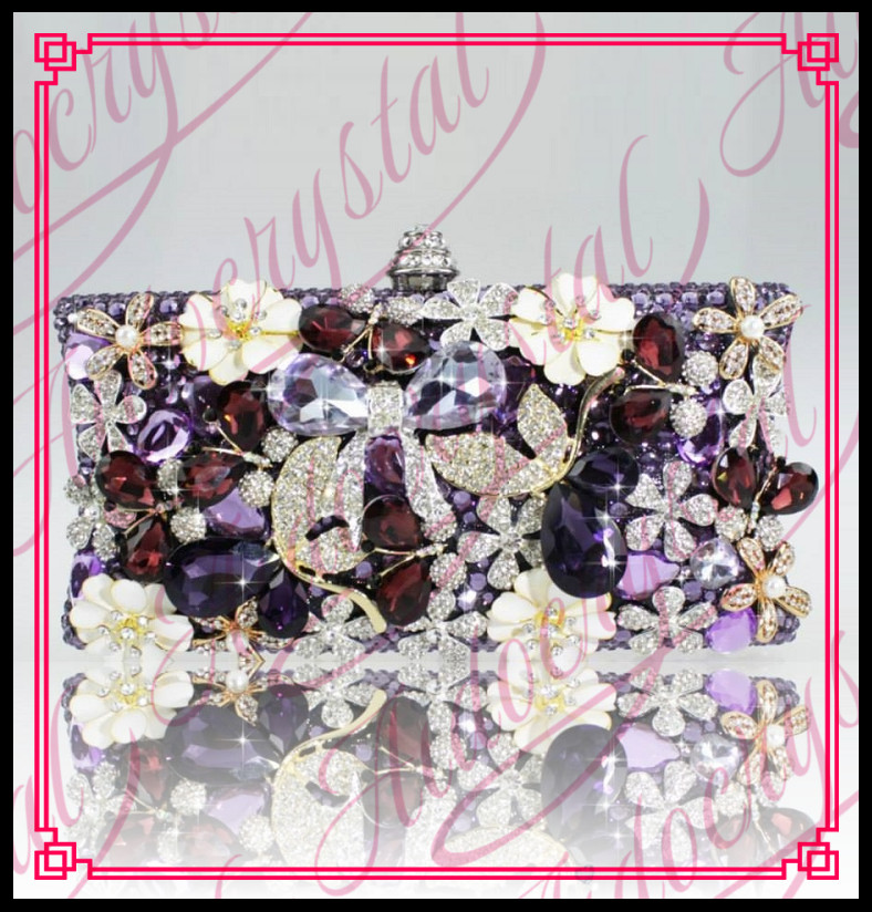 Aidocrystal Purple glitter Color 2016 China Handmade Bag Women Nice Rhinestone Flower font b Clutch b