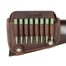 Tourbon Rifle Gun Buttstock Cheek Rest Riser Pad Real Leather With Ammo Cartridges Holder for Shooting Hunting Accessories