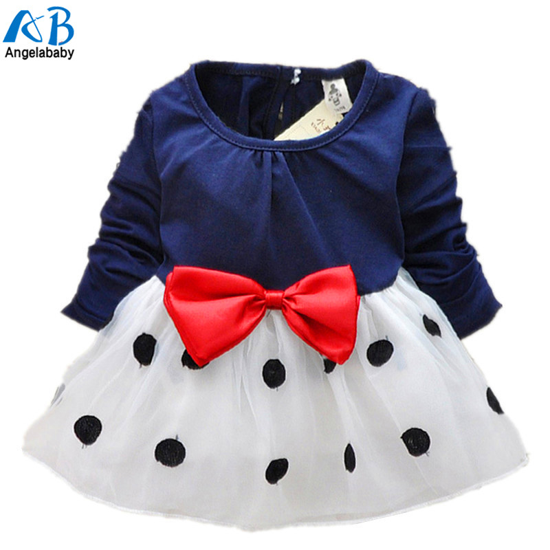 2015 New Cute Baby Girls Dress Cotton and Lace Mini Ball Grown Dresses Kids Clothes For 0-2 Years Baby Bowknot Polk dot dress girls polk dot knot back dress