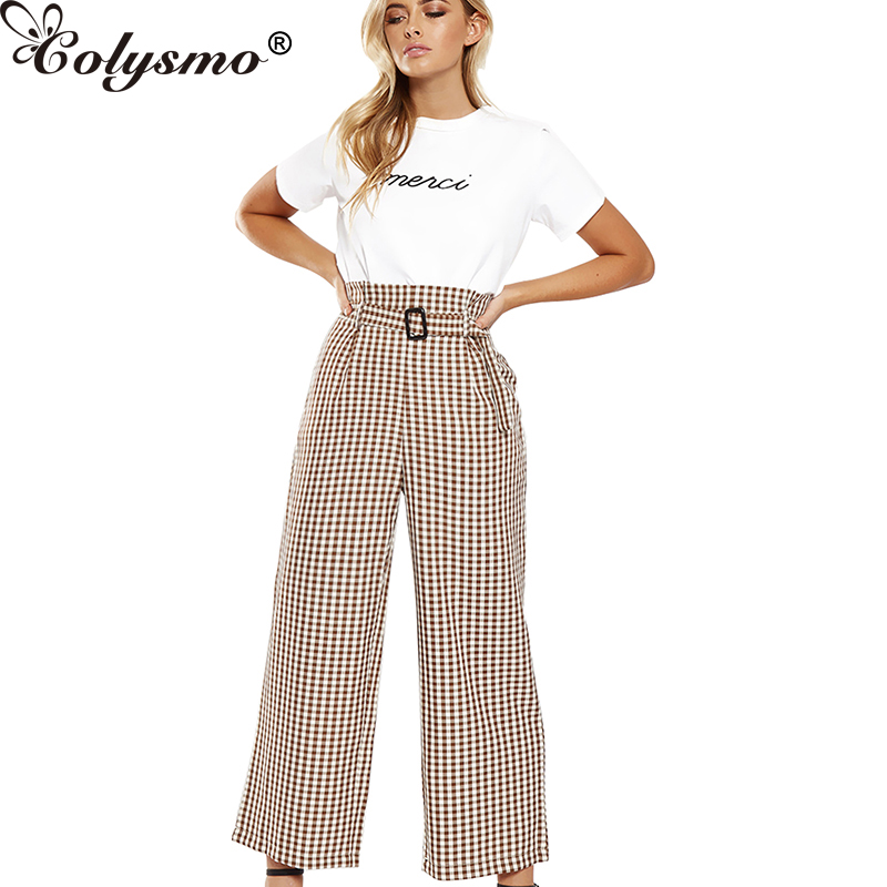 Colysmo Trousers Women Wide Leg   Pants   High Waist Belt Tapared Peg Harem   Pants     Capri   Trousers Summer   Pants   2018 Casual Female New