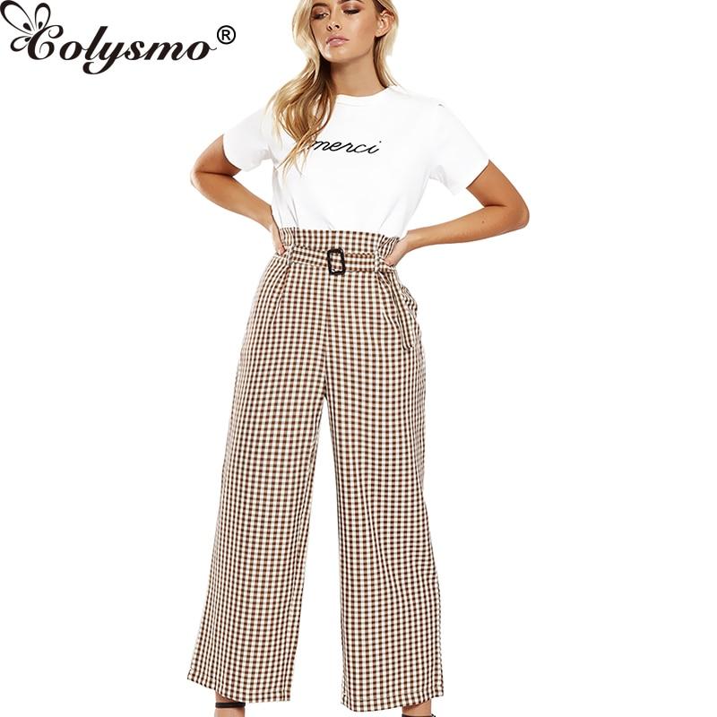 Colysmo Trousers Women   Wide     Leg     Pants   High Waist Belt Tapared Peg Harem   Pants   Capri Trousers Summer   Pants   2018 Casual Female New