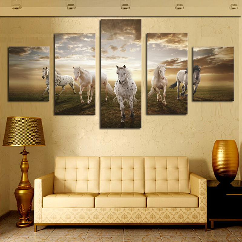 5 Pieces Home Decor For Living Room Running Horse Modern Wall Art ...