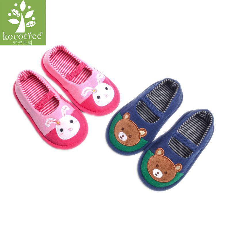 Autumn 2019 Kids Cartoon Animals Rabbit Bear Indoor Floor Slippers Children House Cotton Shoes Boys Girls Non-slip Slipper