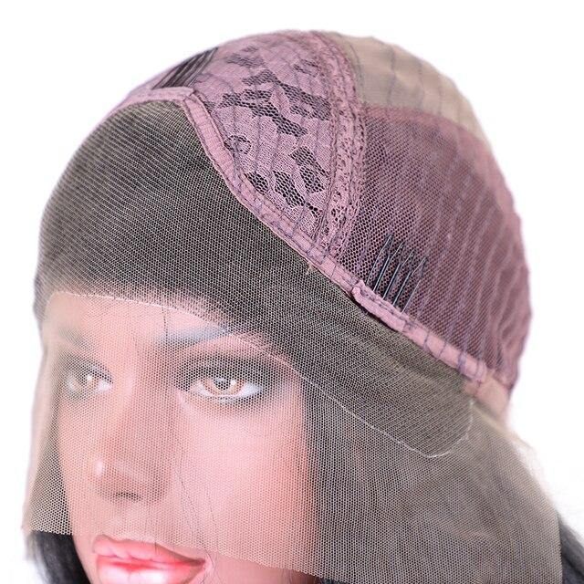 Élément Kanekalon Synthétique Cheveux 28 Pouce Longue Perruque Avant de Lacet Yaki Droite 1B Noir Perruque pour les Femmes Afro-américaines Livraison gratuite 5