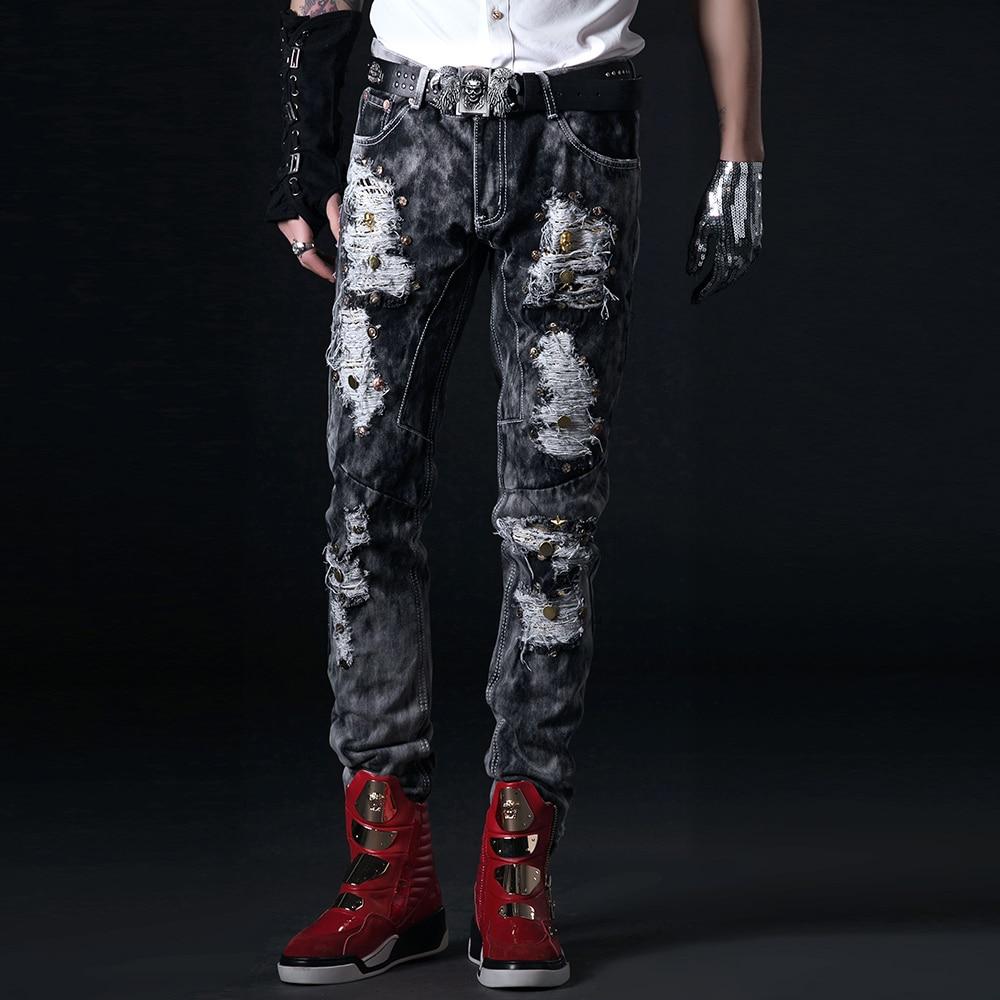 Korean men's brand jeans trousers rivet hole patch pants all-match beggar male singer costumes trousers beggar s feast