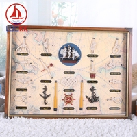 LUCKK 58*43 Wall Hanging Picture Frame With The Sailor Knot And Ships Marine Crafts Home Decoration Room Sea European Ornaments