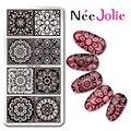 Nee Jolie Прямоугольник  Шаблон Кружева Цветочный Дизайн Ногтей Штампа Плиты 12*6 см Ногтей штампа Плиты NJX-010