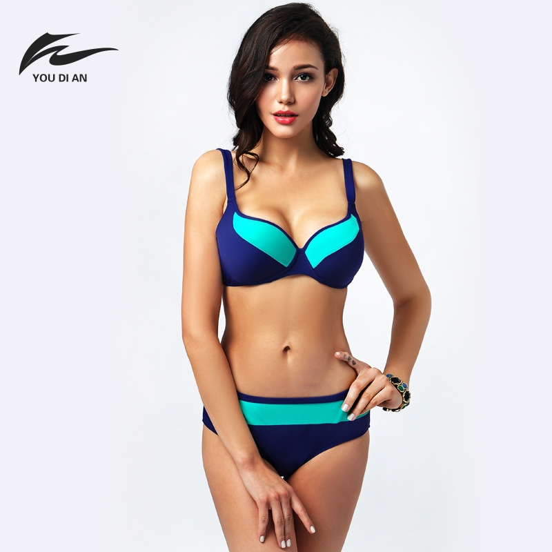 4XL Plus Size Soft Bikini Set Breast Large Size Swimsuit Patchwork Women Swimwear Push Up Brazilian