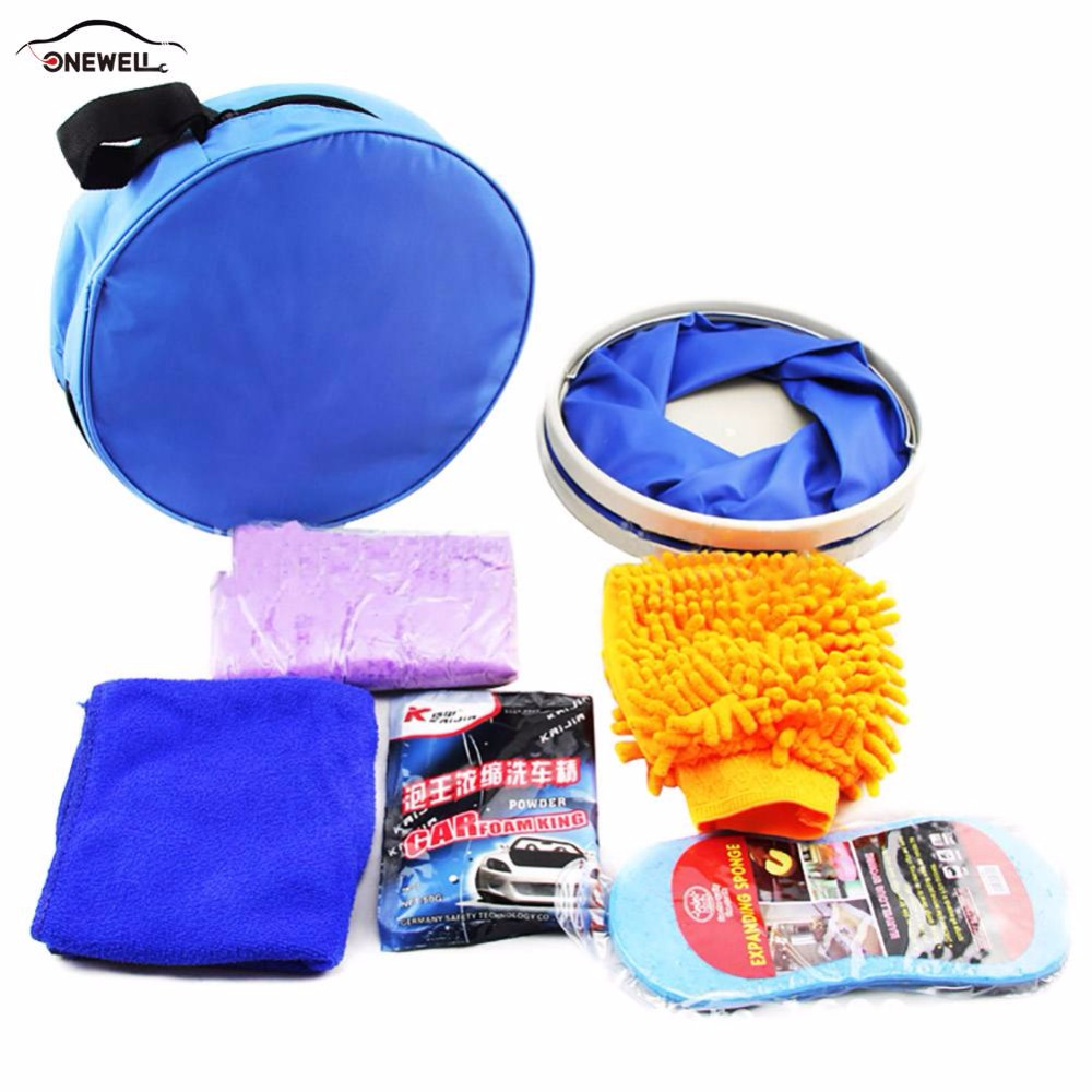 ONEWELL 7 Pcs Car Washing Tools Microfiber Car Cleaning Kit For Any Car SUV BMW Car Styling