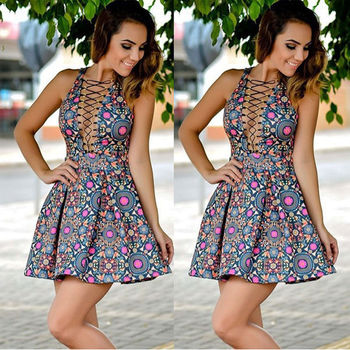 Women Sexy Summer Short Slim Mini Dress Party Evening Bodycon Sleeveless Lace Up Dress Hot summer casual bodycon dresses