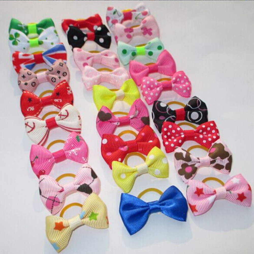 20Pcs Mixed Hair Bows Rubber Bands Candy colors Fashion Cute Dog Puppy Cat Kitten Pet Toy Kid Bow Tie Necktie Clothes decoration (6)
