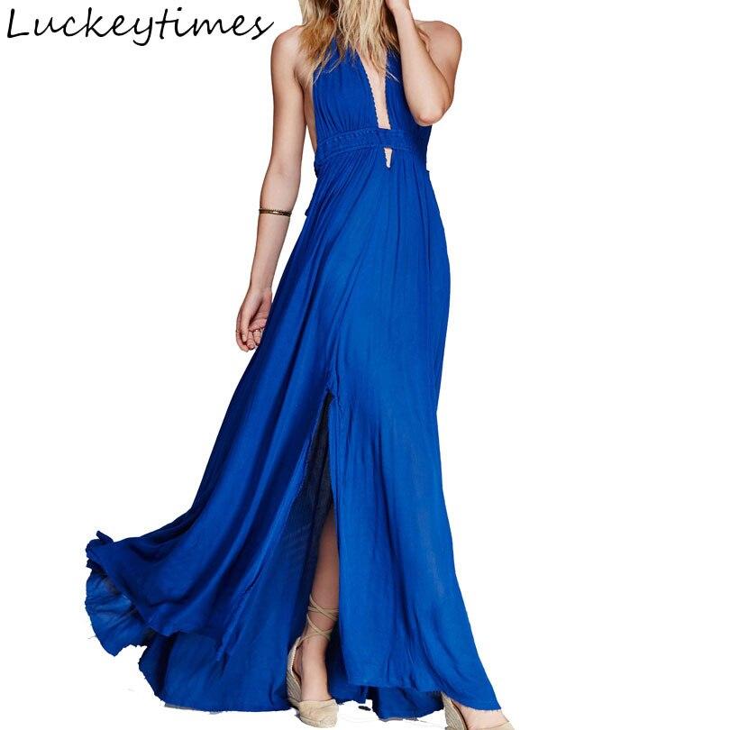 Blue Cotton Long Sexy Dress 2017 Summer Halter Backless Dresses Bohemian Beach Maxi Dresses V neck Slim Boho Party Vestidos S XL