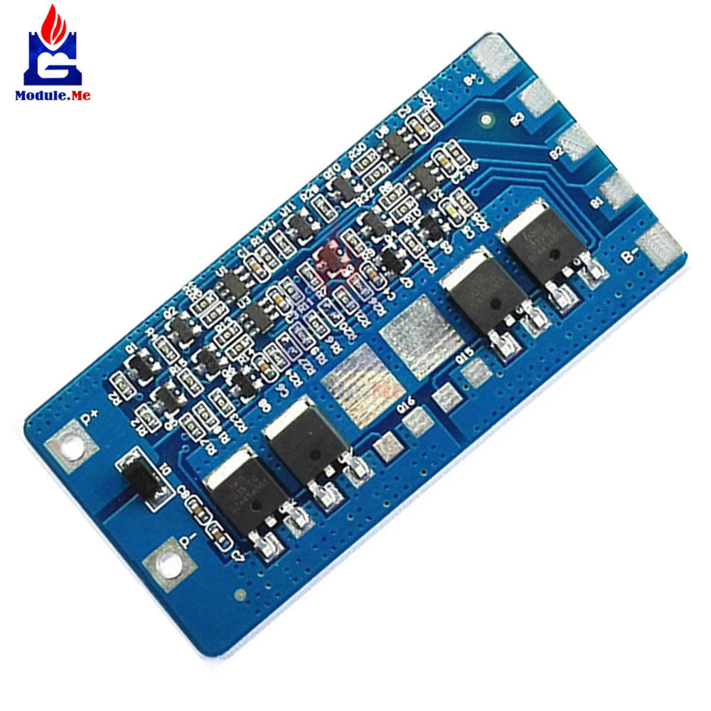 NEW <font><b>4S</b></font> 20A Li-ion Lithium <font><b>18650</b></font> Battery BMS Protection PCB Board 14.8V 16.8V Cell 65X32X4mm Module Board image