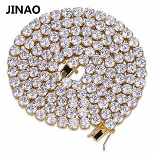 "Image 4 - JINAO היפ הופ שרשרת זהב/כסף צבע כל אייס מתוך נחושת מיקרו פייב CZ אבן 6mm טניס שרשרת שרשרת עם 18 ""20"" 24 ""30"""