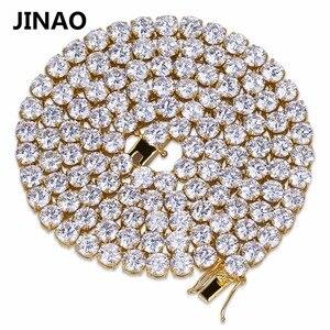 """Image 4 - Jinaoヒップホップネックレスゴールド/シルバー色すべてアイス銅マイクロは、cz石6ミリメートルテニスチェーンネックレス18 """"20"""" 24 """"30"""""""