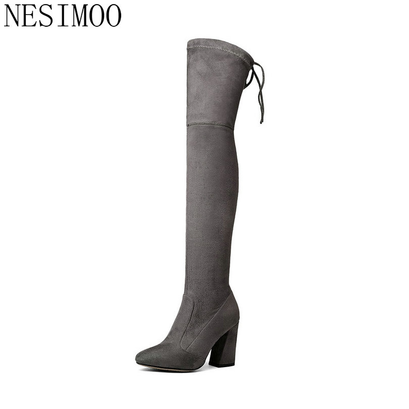 2018fashion Women Over The Knee BootsGray Lace Up Round Toe Women Shoes Square High Heel Stretch Fabric Boots Size 34-43
