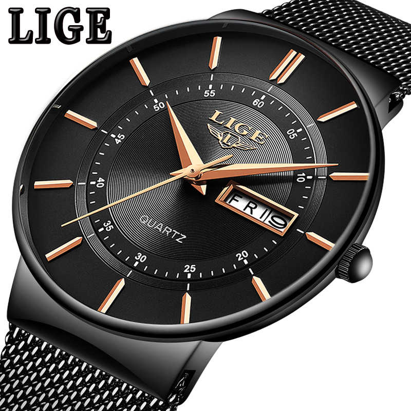 LIGE New Mens Watches Top Brand Luxury Casual Fashion Watch Men Quartz Wristwatch Mesh belt Simple Waterproof Clock reloj hombre