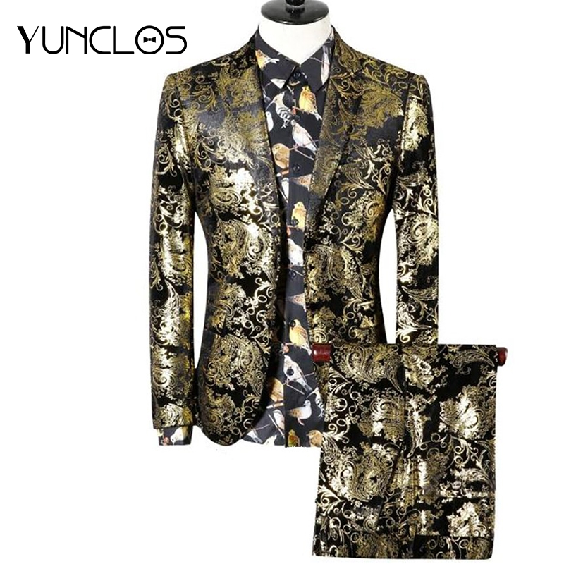 YUNCLOS Luxury Men Suit 2 Pieces Gold Jacquard Suits Wedding Suits for Men Stage Party Dress Plus Size Slim Fit 2019 Fashion