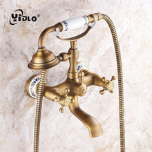 YiDLon Bathtub Faucets Antique Wall Mounted Bathroom Bath Shower Faucets Brass Brushed Bathtub Faucet With Hand Shower Torneiras new wall mounted nickel brushed waterfall bathtub faucet 3 handle w hand shower