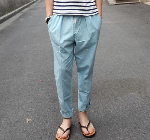 Man plus size summer Casual  Elastic Waist Sashes Ankle-length Pants Harem Pants male Pleated loose Flax Low pants