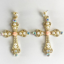 Baroque Big Cross Earrings For Women Long Earrings Vintage Rhinestone Flower Drop Earrings Fashion Jewelry все цены