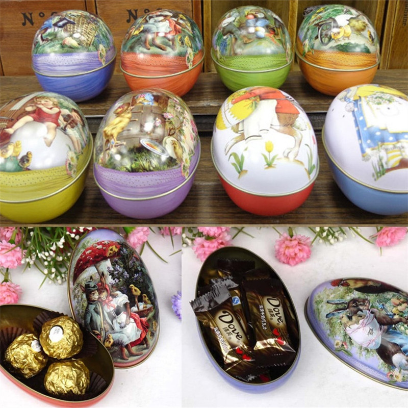 Easter Egg Painted Eggshel Tin Boxes Pills Case Wedding Candy Can Jewelry Party Accessory 5pcs/lot