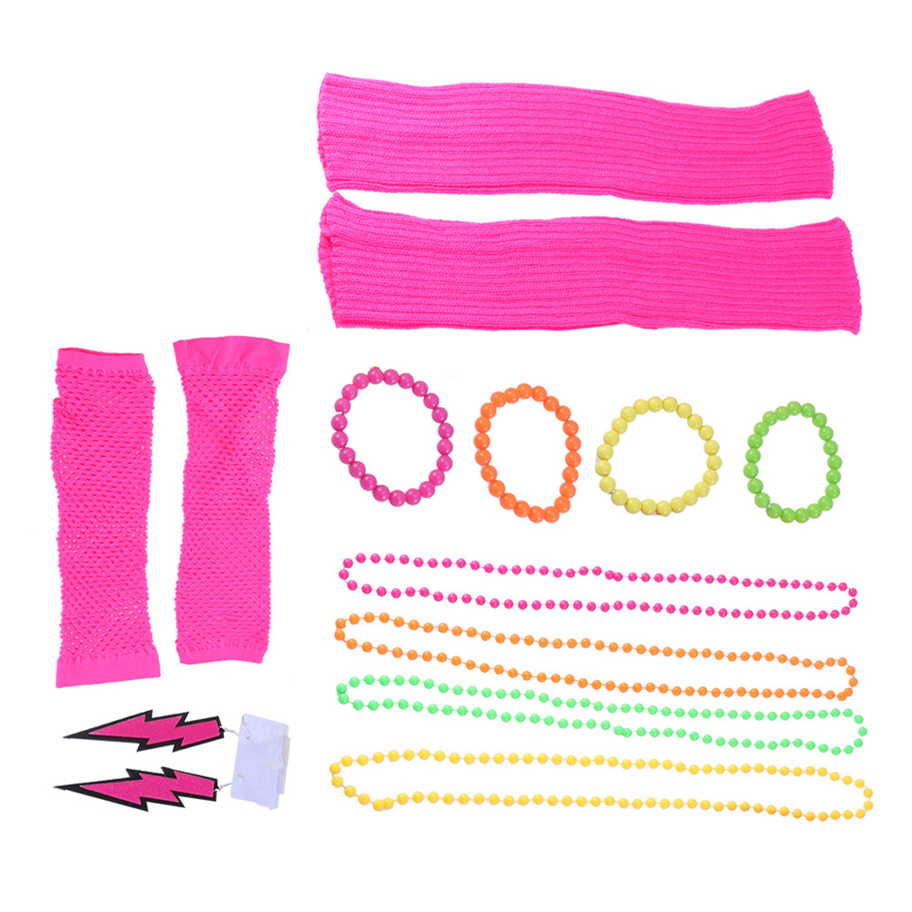 10pcs Neon Fancy Dress Hen Party Disco Carnival Christmas Beads Chain Necklaces