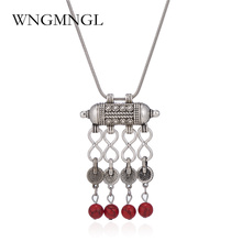 WNGMNGL Ethnic Jewelry Tibetan Silver Snake Chain Necklaces Gypsy Hollow Carved Metal Blue Stone Pendants Necklaces For Women vintage jewelry bohemian tibetan silver chain necklaces gypsy ethnic carved metal flower pendants necklaces for women